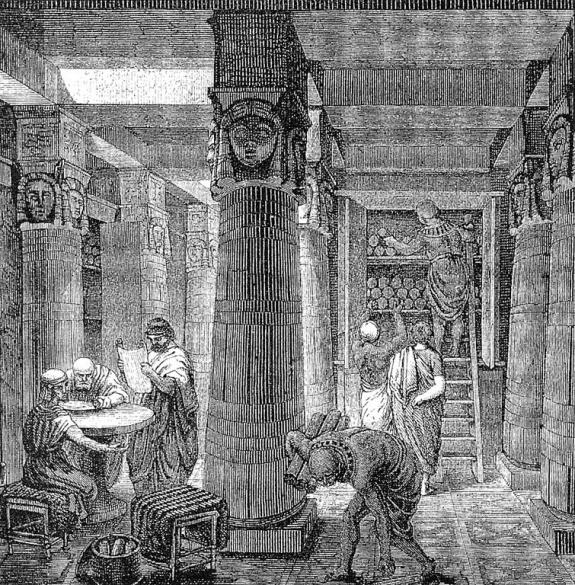 The Great Library Of Alexandria. Artistic rendering from the 19th century by O. Von Corven, based on some archaeological evidence.