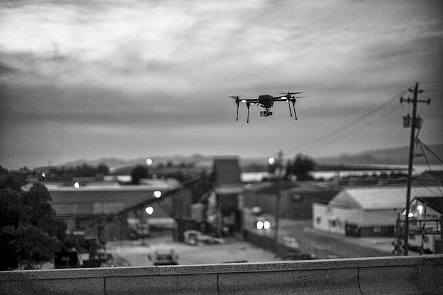 Drone Flying Photo by Christopher Michel. License: CC BY 2.0.